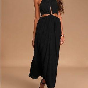 Streamlined Style Black Tie-Back Cutout Maxi Dress